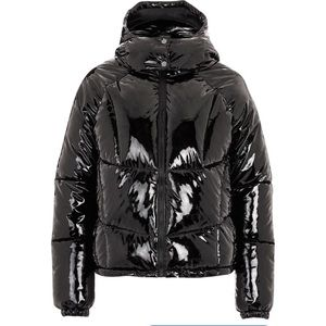 Topshop Black Vinyl Hooded Puffer Jacket